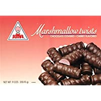 Joyva Chocolate Covered Marshmallow Twists, Cherry Flavored, 9-Ounce (Pack of 2)