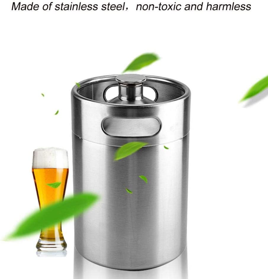 Mini Keg Style Growler Stainless Steel Beer Homebrew Barrel with Spiral Cover Lid Portable Beer Craft Barrel for Home Hotel Supplies 5L
