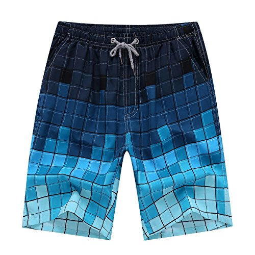(Newland Men's Printing Quick Dry Beach Board Shorts Swim Trunks Plus Size, Blue-plaid, 33-34 waist XXL)