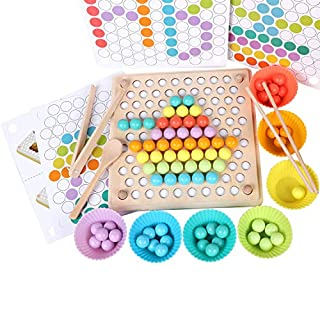 QZM Wooden Peg Board Beads Game, Puzzle Color Sorting Stacking Art Toys for Toddlers, Counting Toy for Kids, Toddler Educational Montessori Games for Math Learning, Great Gift for Girls and Boys