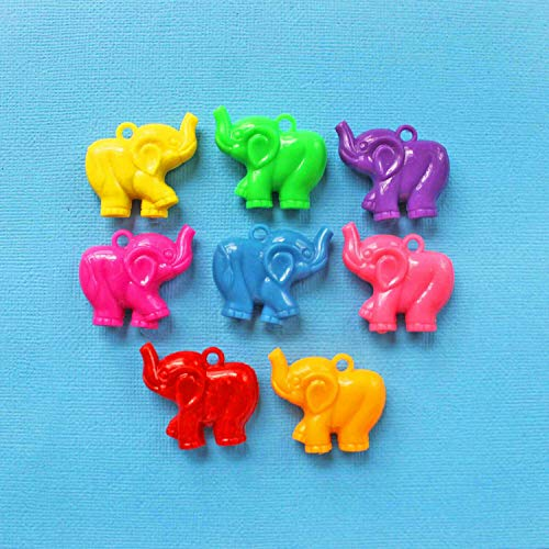 8 Elephant Charms Colorful Acrylic Fun 3D 2 Sided Design K174