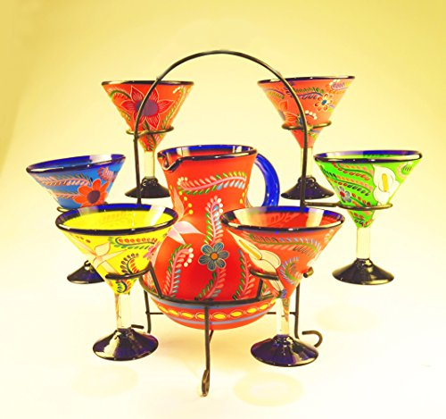 Mexican Margarita / Martini Glasses and Pitcher set with display rack, Hand Blown, Hand Painted, Assorted Colors with various flowers, 14 OZ by Mexican Margarita Glasses
