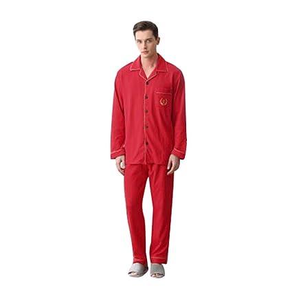 Pijamas Algodón para Hombre de Manga Larga Cárdigan Servicio de Servicio a Domicilio de algodón de