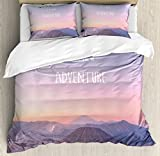 Adventure Queen Size Duvet Cover Set by Ambesonne, Ethereal View of Kawah Ijen Crater in Indonesia Scenic Misty Land, Decorative 3 Piece Bedding Set with 2 Pillow Shams, Pale Pink Tan Pale Blue