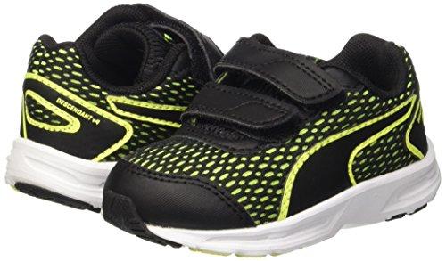 Puma Descendant V4 V Inf Sneaker, Negro/Safety Yellow, 4