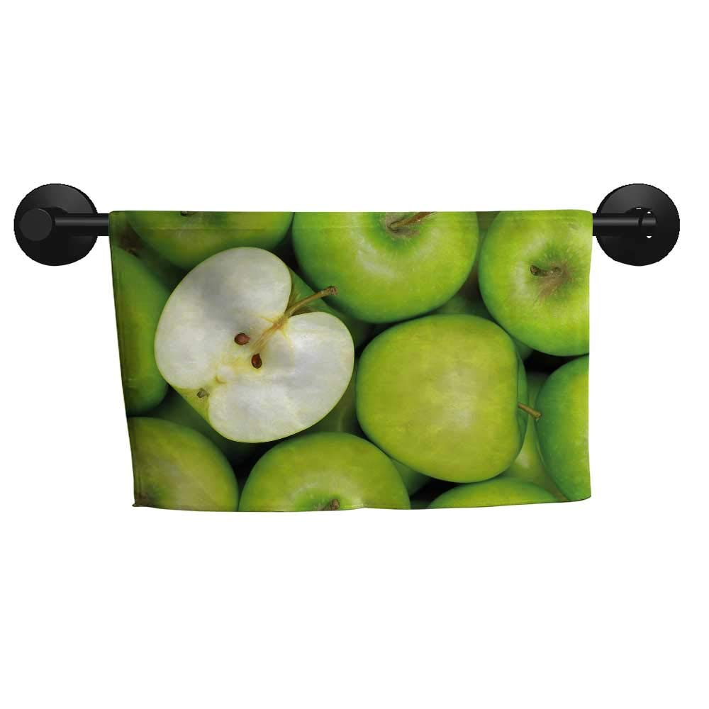 "Apple,Beach Towels Realistic Looking Pile of Green Apples Healthy Sweet Snack Eating Clean Fresh Microfiber Sports W 28"" x G 12"""