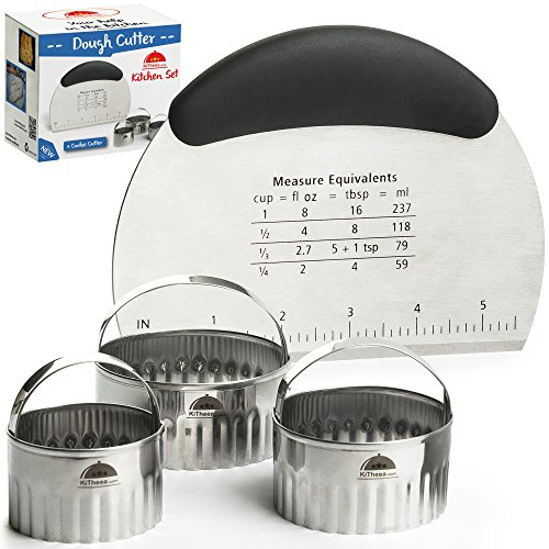 KiTheea Stainless Steel Dough Cutter - Bench Scraper and Pastry Cutter - Dough Scraper - Perfect as a Chooping Knife and Bowl Scraper Tool - Circle Cookie Cutters - Ebook Bonus
