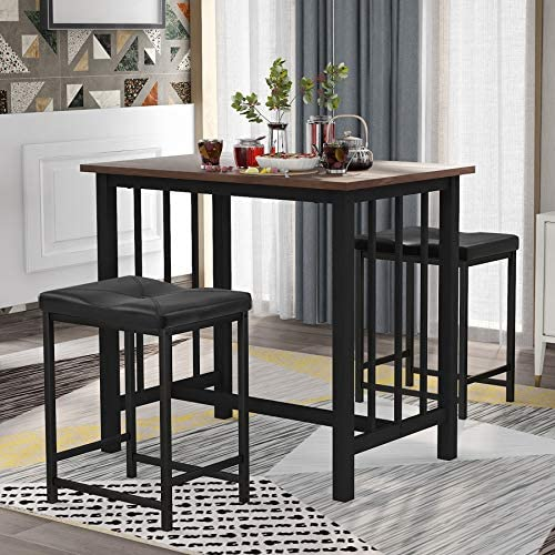 3 Piece Dining Table Set Industrial Style Counter Height Bar Table