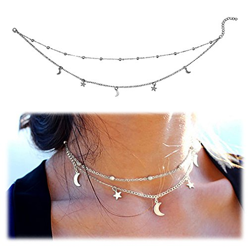 Gleamart Women Girls Layered Crescent Moons & Stars Beads Charm Choker Necklace Silver - Silver Moon Star Charm