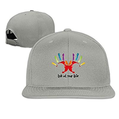 Custom Unisex-Adult Look At Your Life Flat Brim Summer Cap Hats Ash