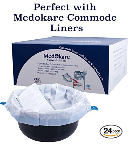 Medokare Bedside Commode Chair - Heavy-Duty Steel Commode Seat, Bedside Potty Chair for Adults, Medical Handicap Toilet Seat with Handles and Bucket by Medokare (Image #6)
