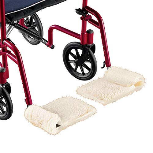Cozy Faux Sherpa Wheelchair Footrest Covers with Cushioned Support - Set of 2, Machine Washable - Made in The USA