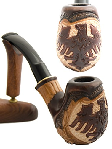 Pipe Davidoff - German Eagle Pear Wood Hand Carved Tobacco Smoking Pipe + Pouch