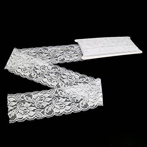 (Elastic Lace,6.8CM Width 5 Yards Elastic Lace Gorgeous White Vintage Lace Tulle Trims Edge Ribbon Sewing Craft(Elastic Lace))