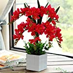 Mynse-Set-of-Artificial-Common-Freesia-Flowers-with-White-Vase-for-Indoor-Decoration-Artificial-Common-Freesia-Orchid-Flowers-Red