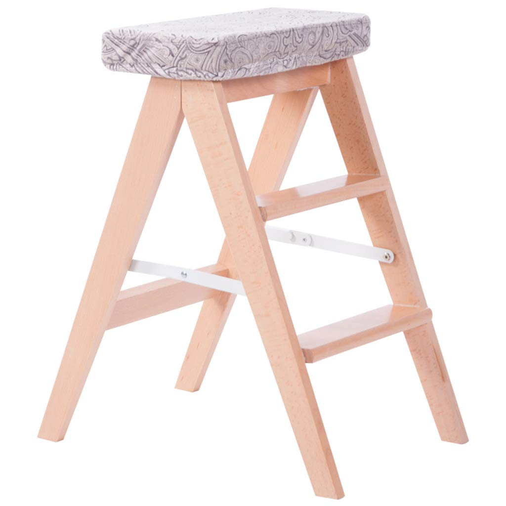 1  DNSJB Foldable Ladder Stool Small Wooden Step Stools Housewares Kitchen Stools(5colors,39  20  60cm) (color   3 )