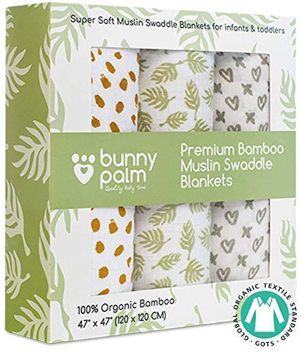Muslin Swaddle Blankets, Unisex Organic Bamboo for Baby Set of 3 Swaddles for Boys and Girls, Soft Swaddling Receiving Sleep Blankets, Unisex Infant Toddler Gender Neutral Gift with Green Unisex