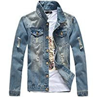 DSDZ Mens Classic Ripped Motorcycle Denim Jacket with Hole