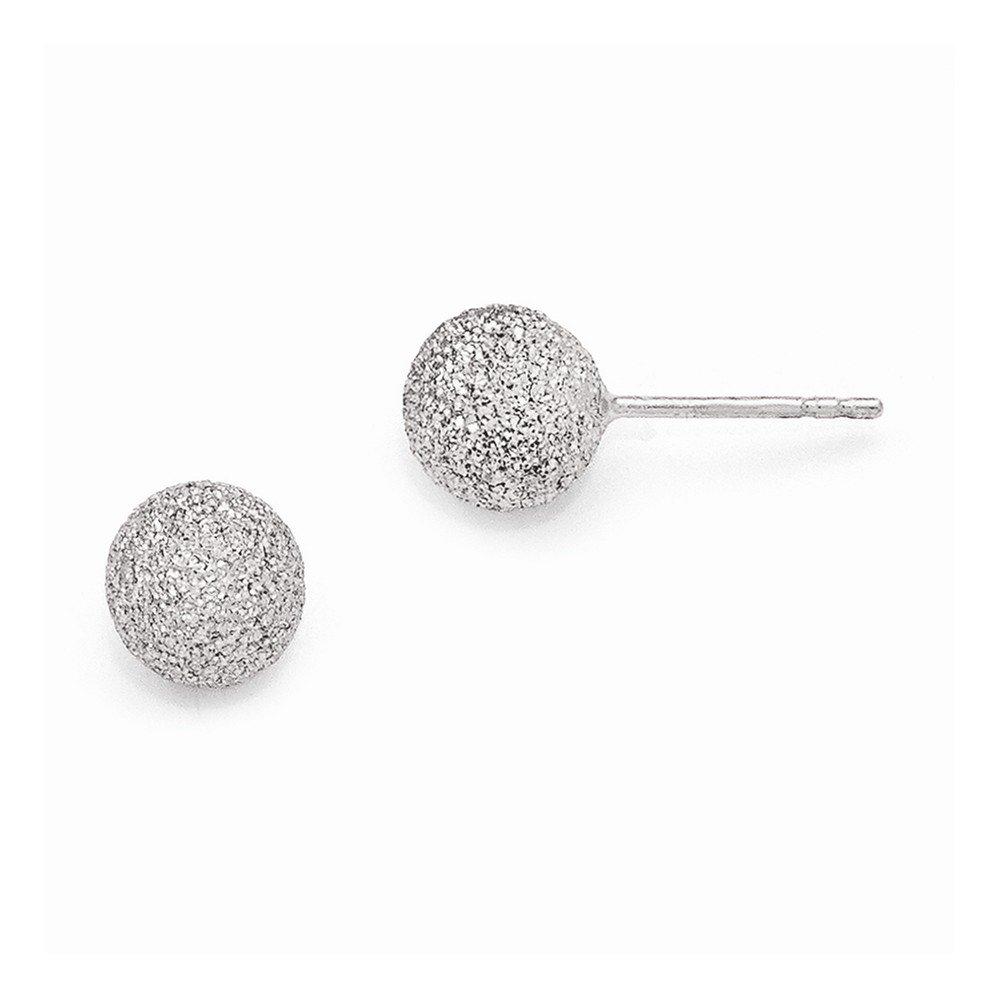 Leslie's SS Radiant Essence Rhodium-plated Ball Post Earrings