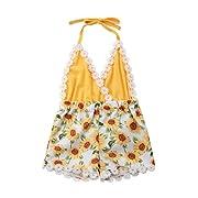 Mornbaby Newborn Girls Clothes Baby Romper V-Neck Halter Floral Bodysuit Backless Outfit (Sunflower, 12-24 Months)