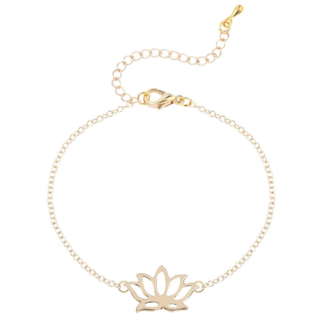 Hollow Charm Adjustable lotus Bracelet Plating Alloy Tennis Bracelet for Women 0310QGP8WHQ