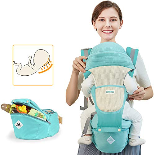 Baby Carriers Front and Back for Newborn to Toddler's with Hip Seat Windproof Cap Bite Towel Wrap 6 in 1 Convertible Backpack Cotton Sling (Green)