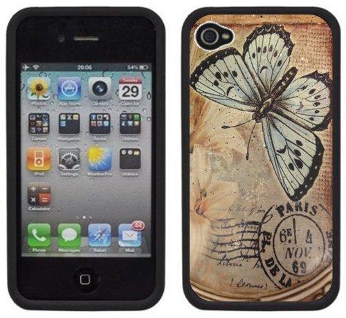 Papillon Ancien de Paris | Fait à la main | iPhone 4 4s | Etui Housse noir