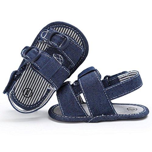 BZLine® Baby niedlich Krippe Schuhe Prewalker weiche Sohle Anti-Rutsch Schuhe Sandalen Blau