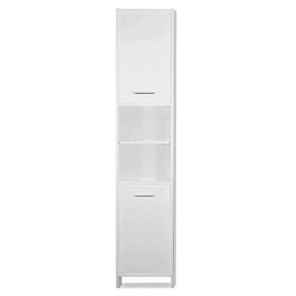 2 Door Shelves Tall Bathroom Cupboard Large Tallboy Cabinet Free Standing Storage Unit, 185 x 30 x 30 cm(H/W/D) White Homypro