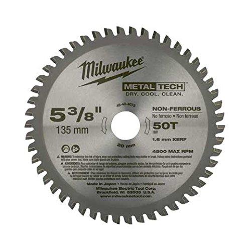 Milwaukee 48-40-4075 5-3/8-Inch 50T Non-Ferrous Metal Blade (48 Metal Ferrous Tooth)