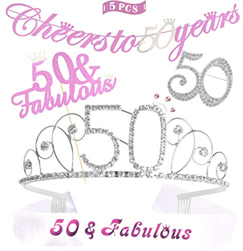 50th Birthday Decorations Party Supplies | Gold 50th
