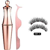 Magnetic Eyelashes Kit,2 pcs No Glue False Eyelashes Reusable Ultra Thin With Waterproof Eyeliner and Tweezers