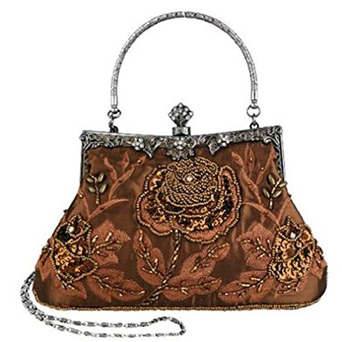 Women's Beaded Coffee Vintage Sequin Belsen Handbags Evening dPT4fqdOw