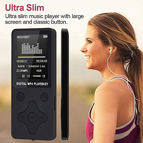2019 Fashion Portable MP3/MP4,Lossless Sound Music Player FM Recorder - Matte Material Body, Non-Slip Feel New Simple MP3 Style,Music Player 6-8 Hours Playback & Supports up to 32G, Black