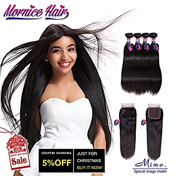 Amazon peruvian hair 4 bundles with closure mornice 10a peruvian hair 4 bundles with closuremornice 10a human hair extensions with 4x4 free part pmusecretfo Gallery