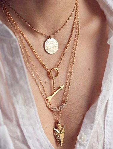 FXmimior Multilayer Necklace Gold Circle Arrow Pendant Chain Long Choker Layered Jewelry for Women (1)