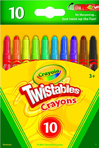 Crayola Mini Twistables Crayons - 10 Classic Colors Non-Toxic Art Tools for Kids & Toddlers 3 & Up - Great for Kids Classrooms or Preschools - Self-Sharpening No-Mess Twist-Up Crayons