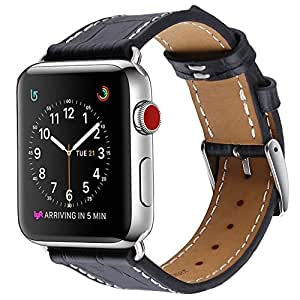 Apple Watch Band 42mm, Crocodile Patterned Genuine Black Leather by Palestrapro. iWatch Replacement Strap for Series 3,2,1. Makes Your Watch More Comfortable, Fashionable.