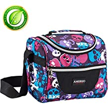 Insulated lunch bag for kids, AMERIO Lunch Box For Work Men, Women, Smooth Zipper& Lightweight, Small Lunch Box for Grils with Adjustable Strap (Skull)