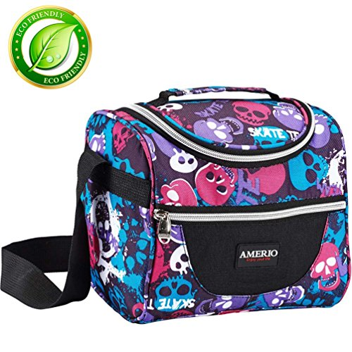 Insulated lunch bag for kids, AMERIO Lunch Box For Work Men, Women, Smooth Zipper& Lightweight, Small Lunch Box for Grils with Adjustable Strap (Halloween Bento Lunches)