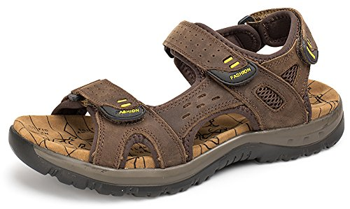 Odema Mens Summer Leather Sandals Open Toe Hook and Loop Outdoor Shoes Fisherman Sandals Size Plus 6-11 Darkbrown