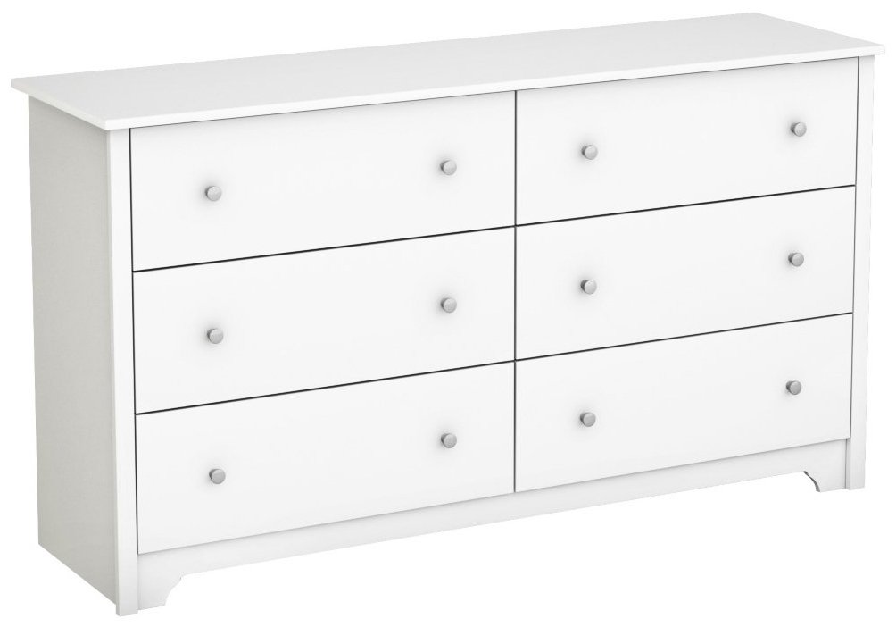 South Shore Vito Collection 6-Drawer Double Dresser, Pure White with Matte Nickel Handles by South Shore
