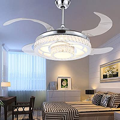 RS Lighting Modern Fashion Low Profile Ceiling Fan with Chandelier -for Indoor Living Dining Room Bedroom Crystal Chrome Ceiling Fan Light Kit