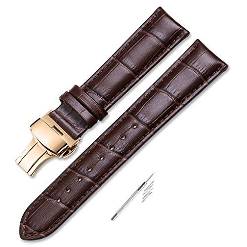 iStrap 22mm Calf Leather Watch Band Strap W/ Rose Gold Steel Push Button Deployment Buckle Brown (Deployment Watch Clasp)