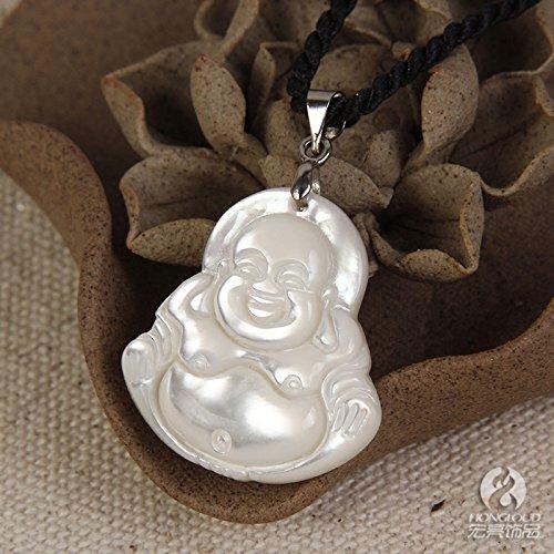 usongs Wei Shu Lan shell necklace pendant inlaid with mother Maitreya national style fish bone necklace pendant shell carving gifts Direct