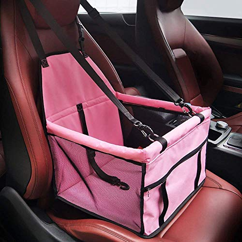 HIPPIH Collapsible Pet Booster Car Seat - 2 Support Bars, Portable Small Dog Cat Car Carrier with Safety Leash and Zipper Storage Pocket (All Pink)