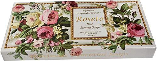 Saponificio Artigianale Fiorentino Luxury Roseto Rose Soap Set 3 X 4.40 From ()