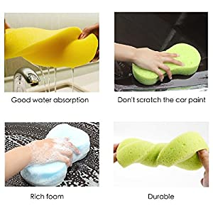Car Wash Sponges 5pcs Mix Colors Cleaning Scrubber Handy Multi Functional Washing Sponges for Kitchen with Vacuum Compressed Packing
