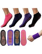 MAZOR 4 Pares Calcetines de Yoga Antideslizantes para Mujer + Banda para Sudor - Calcetines de Mujer Antiderrapantes Pilates Barre Ejercicio en Casa Calcetas de Dama Tines Cortos Calcetines Embarazo Maternidad Hospital