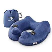 Jerrybox Fastest Inflatable Neck Pillow with 2 Airbags, Travel Neck Support Pillow for Airplanes, Soft Portable Flight Pillow with Packsack